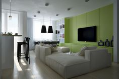 lime, black and white for the living room. This would be sexier with red...