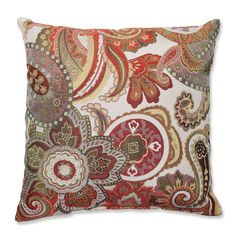 Crazy Rosewood Throw Pillow (16.5-inch Throw Pillow), Multi, Size 17 x 17 (Polyester, Paisley)