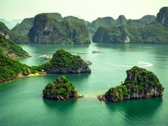 Ha Long Bay, in the Gulf of Tonkin off the coast of northern Vietnam, is made up of about 1,600 islands and islets of limestone pillars. According to UNESCO, a majority of the islands are uninhabited by people due to their extremely steep nature.