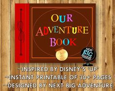 Instant Download Print » OUR ADVENTURE BOOK » Cover, 32 Unique Scrapbook Pages, 1 Bordered-Blank Scrapbook Page  UP is one of my favorite Disney movies ever, and I especially adore the ' Adventure Book' that Ellie made! I was so inspired by this movie that I decided to design a downloadable scrapbook especially for two people so everyone could share their adventures easily and effortlessly. :)  * INCLUDED : 34 Pages (PDF 1.13 MB) * DIMENSIONS : LANDSCAPE ORIENTATION * 11 x 8.5 inches