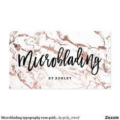 Microblading typography rose gold white marble business card