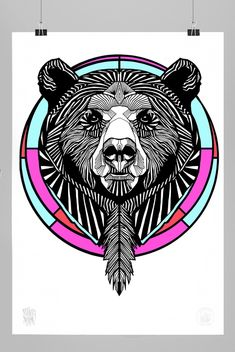 BEAR NO.6 A2 PRINT // 310GSM FINE ART PAPER // COTTON RAG 100% ACID FREE // WWW.THEBEARHUG.COM Native Symbols, Native Art, Cool Drawings, Drawing Sketches, Sketching, Grizzly Bear Tattoos, Bear Claw Tattoo, Tribal Bear, Nordic Tattoo