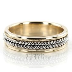 "Hand-braided-milgrain-wedding-band - a women's match to the man's ""The Fountain"" ring"