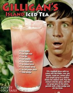 Willy Gilligan's take on the Long Island Iced tea. Liquor Drinks, Cocktail Drinks, Beverages, Cocktail Recipes, Bourbon Drinks, Mixed Drinks Alcohol, Alcohol Drink Recipes, Juice Recipes, Famous Drinks