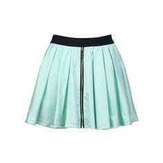 Ziped Mint Skirt ($47) found on Polyvore featuring skirts, bottoms, cotton skirt, elastic waist skirt, green cotton skirt, mint green skirt and zipper skirt