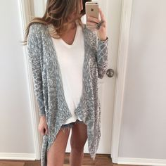 """Last Item • Black, White, Grey Blended Sweater • Item Information: Such a great cardi! Has a nice weight to it, not solid, thicker knit but not too thick. Very well made. Great with just a tank if you need a little warmth. 80% acrylic 20% poly. Medium: 28"""" long in back • around 39"""" to the point • 21"""" chest - a very open style • between 17/18"""" sleeves.   • Size I'm modeling: Small  • Sizes available: Medium   {{ Please do not purchase this listing, I will create you a new listing to purchase…"""