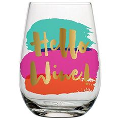 Hello Wine  20 oz Stemless Wine Glass with Colorful Background and Metallic Gold Print ** Click image to review more details.Note:It is affiliate link to Amazon.