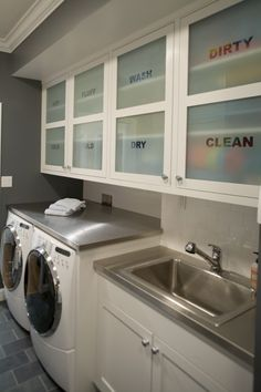 Laundry room with labeled cabinets! So smart! If you rent to buy with Cove you can do things like this, which you can't normally do when you rent!