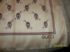 Gucci Scarf 23 Square Hand Rolled Edges New Never Used Horse Shoes | eBay