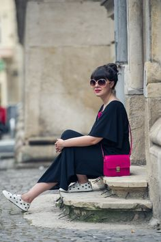 Fuchsia pops and a maxi dress