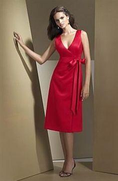 A-line V-neck Sashes/ Ribbons Satin Bridesmaid Dresses - OuterInner.com