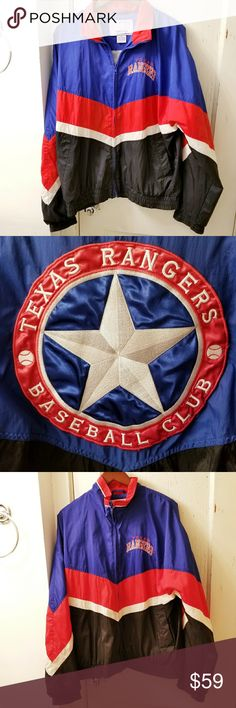 Texas Rangers Starter Jacket size M windbreaker Authentic Texas Rangers baseball Starter jacket - size mens Medium - lightweight windbreaker nylon fabric - zip front - in great condition with minimal signs of wear.  Clean and from a smoke free home:)  PoshB81888tx9g7r  MLB sports STARTER Jackets & Coats Windbreakers