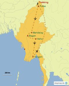 Trekking im Himalaya - Myanmar Trekking Yangon, Mandalay, Trekking, Movie Posters, Places, Film Poster, Hiking, Film Posters