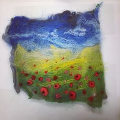 Sample for beginners textile art class. Wet felted with details added by needle felting