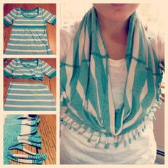 DIY scarf. Use an old tshirt and create a fabulous scarf