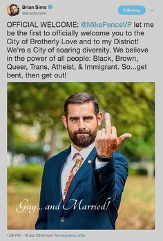 """My dude, open your goddam eyes >>>WOW, this is what the liberal is now calling the """"open hand of brotherly love!"""" Trump revealed the HATE that has always been there. Folks, if you don't start standing up against this, HATE will consume this nation Brian Sims, Brotherly Love, I Am The One, Political Views, Truth Hurts, Atheist, Wisdom, Let It Be, Shit Happens"""