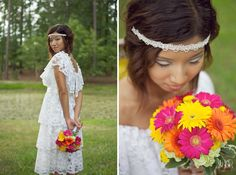 Vintage 70s wedding dress, tiered lace