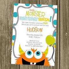 monster birthday party invitation photo option colton s birthday