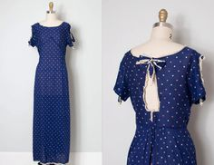 rare and amazing vintage 1930s maxi dress. navy blue star print lightweight semi-sheer cotton, lace trim details throughout, short sleeves…