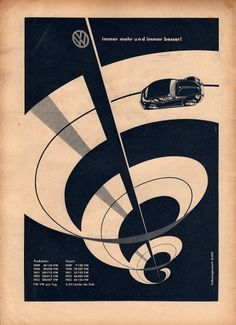 Vintage VW (Volkswagen) ad - car auto - beetle - vw bug advertisement german graphic design - Love the swirl, very eye catching. Poster Design, Graphic Design Posters, Graphic Design Typography, Graphic Design Illustration, Graphic Design Inspiration, Graphic Art, Graphisches Design, Retro Design, Print Design