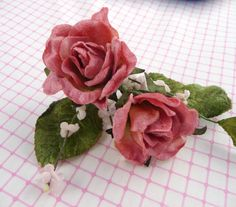 Silk and Satin Millinery Roses White with Pearls Leaves Set of 3 for Weddings Bridal Veils Hair Clips Head Bands Crafts