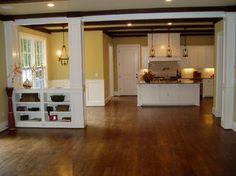 Living room on pinterest craftsman fireplace gas fireplaces and craftsman - Half wall bookcase room divider ...