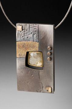 Roger Rimel,  Sterling,14k gold ,fused gold,diamond slice,diamonds