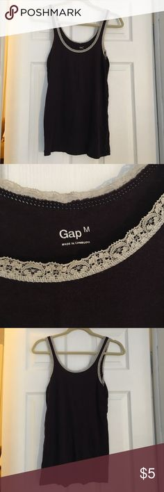 Plum lace Gap tank top Soft cotton, stretchy plum colored Gap tank with a lace trim. GAP Tops Tank Tops