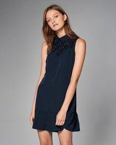 High-Neck Drop Waist Dress