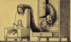 creepy monsters sticky notes drawings by Don Kenn