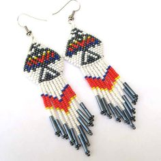 Native American Style Thunderbird  Seed Bead Earrings