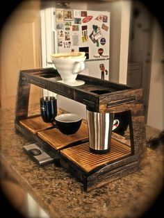 Double Coffee Pourover Station reserved for thevinyljunky Coffee Brewer, Coffee Cafe, Coffee Drinks, Coffee Shop, Coffee Gifts, Coin Café, Pour Over Coffee, Drip Coffee, Coffee Dripper