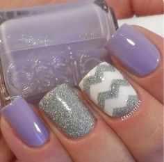 I haven't posted in a while but I have a bunch of things laid out and read so be prepared for the post! These are classic light purple and sliver glitter chevron nails. I really want to try these out but they wouldn't last a week sadly