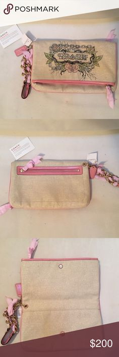"✨RARE✨ NWT Coach Edgy Clutch NWT *rare* Coach clutch. Cream fabric with slight gold element, printed Coach logo with a slight edge. Pink leather trim and gold chain wrist strap with pink ribbon. Pink leather signature ""Coach"" tag. Opens to either store items in side pocket or unzip for full inside. Very spacious but still a good size to carry around. ✨check out my closet for other Coach items✨ Coach Bags Clutches & Wristlets"