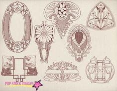Art Nouveau Frames & Ornaments Vol 2 /by popstock on Creative Market/