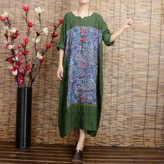 Women long sleeve ethnic style green printing stitching loose linen long dresses