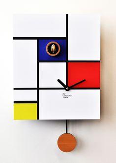 L'arte di Mondrian per arredare con stile la casa moderna! Scegli tutti il nostri modelli di orologi a cucu! #comprocomodo #arredamento #moderno #design #mondrian #arte #pendolo #arredo #arredamento