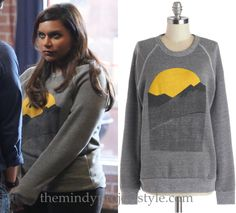 Mindy wore this sunrise over mountains sweatshirt in last night's episode of The Mindy Project! /// Kin Ship Goods Good Morning Sweatshirt - $50 (also in ecru)