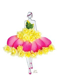 "Fashion Illustrations With Real Flower Petals As Clothing. ""made of real flower"" Arte Fashion, Floral Fashion, Flower Petals, Flower Art, Art Flowers, Flower Dresses, Dresses Art, Unique Drawings, Fashion Sketches"