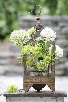 Easter Flower Arrangements, Sunflower Arrangements, Easter Flowers, Floral Arrangements, Bird Cage Centerpiece, Easter Centerpiece, Green Centerpieces, Centerpiece Flowers, Centerpiece Wedding