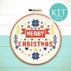 Xmas Cross Stitch KIT Merry Merry Christmas by redbeardesign