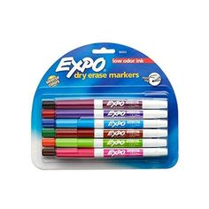 Expo Low-Odor Dry Erase Markers, Ultra-Fine Tip, 4-Pack, Fashion... ❤ liked on Polyvore featuring home, home decor, office accessories, dry erase and colored markers