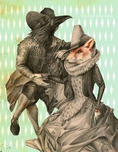animals, collages, fox, illustration collages retro, love, retro - inspiring picture on Favim.com