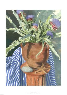 Artichokes by Rosalind Forster. An arty image from a really talented artist. Available to buy as a print on the looks good on the wall site. Artichokes, Printmaking, Watercolor Paintings, Fine Art Prints, Wall, Artist, Image, Water Colors, Printing