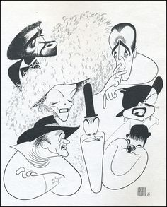 Sammy Davis, Humphry Bogart, Judy Garland, Laurel & Hardy, John Wayne and Katherine Hepburn. Illustrators, Celebrity Caricatures, Comic Book Heroes, Cartoonist, Vintage Comics, Caricature, Caricature Drawing, Art, Black And White Portraits