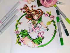 I really fell in love with the tattoo styled drawings I did last week so why not create some more? :-) Strength, flowers and cooking powers - Sailor Jupiter combines it all! xD Can't wait to draw some more Sailor Senshi