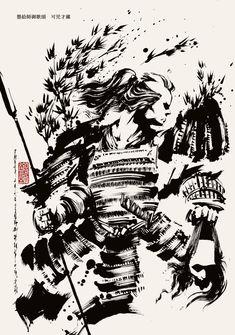 可児才蔵 Samurai Tattoo, Samurai Art, Samurai Warrior, Oriental, Brush Pen, Cows, Japanese Art, Shadows, Art Drawings