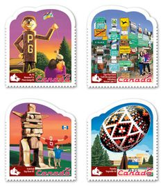 The first in a three-year series, these stamps feature four of Canada's famous roadside attractions: Mr. PG, a forest of more than signposts, an inukshuk and a massive Easter egg. Canada Post, Northwest Territories, Ukrainian Easter Eggs, First Day Covers, Love Stamps, Roadside Attractions, Summer Solstice, Water Crafts, Stamp Collecting