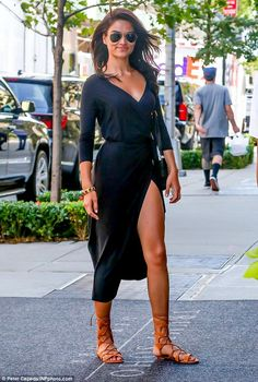 Those legs! Shanina Shaik gave New York residents an eyeful when she stepped out for a spot of shopping on Tuesday