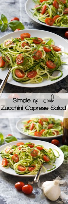 My go-to summer meal! Simple {no cook} Zucchini Caprese Salad is fully on fresh summer flavors and takes no time to throw together as no cooking is required. Filled with fresh tomatoes, garlic, balsamic, basil and zucchini!